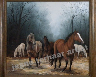 Field of Horses  - Oil Painting