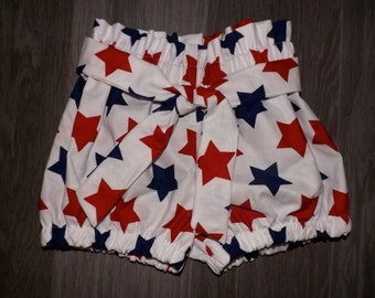 Girls Fourth of July tie around high waisted shorts