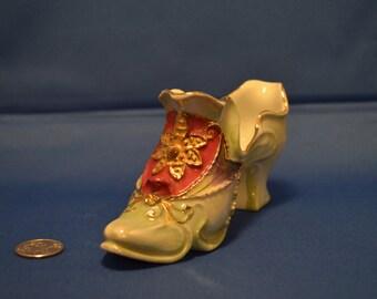 Vintage German Gilded Porcelain Shoe