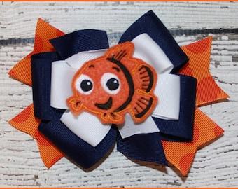 Nemo hair bow Hair bow on alligater clip or head band