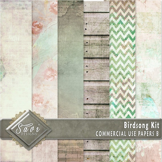 CU Commercial Use Background Papers set of 6 for Digital Scrapbooking or Craft projects Birdsong Set B Designer Stock Papers