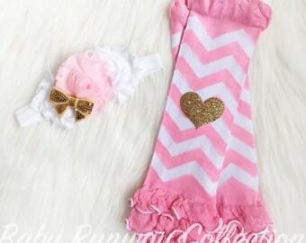 Gold Heart Glitter Pink And White Chevron Leg Warmers With Ruffles -Baby Leg Warmers - Photo Prop - Pink & Gold - Matching Headband