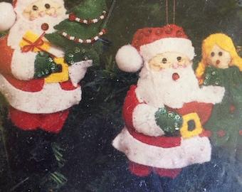 Santa with bag and tree felt ornament kit sealed