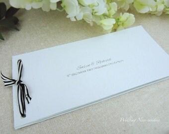 Green & White Cheque Book Invitation