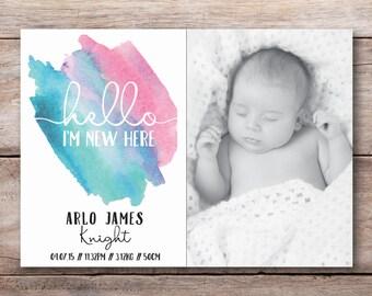 Baby announcement, birth announcement, baby announcement card, printable baby announcement, digital birth announcement (033)