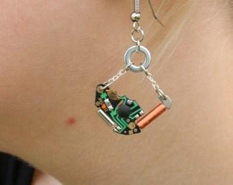 circuit watch quartz earrings