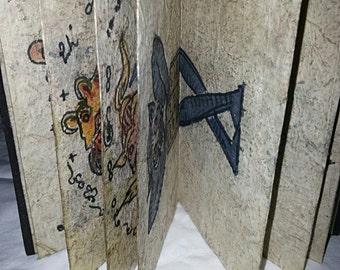 Antique 19th Century Ritual Buddhist Tattoo Book (Parabaik) Burma