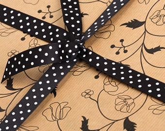 2m x KRAFT BLACK VINE Flower Brown Wrapping Paper Gift Wrap Vintage Wedding
