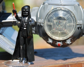 Vintage Star Wars Darth Vader Tie Fighter with Working Electronics + Darth Vader Action Figure by Kenner