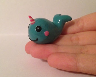 Keeli the Narwhal polymer clay figurine