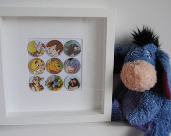 Winnie the Pooh bubble frame. Your favourite Pooh characters framed. Handmade