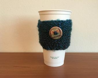 Owl Coffee Cozy - Blue/ Green