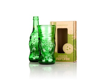 Upcycled Lucky Beer Bottle Glass - Handcrafted in North Devon
