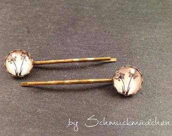 Hair clips bronze flower