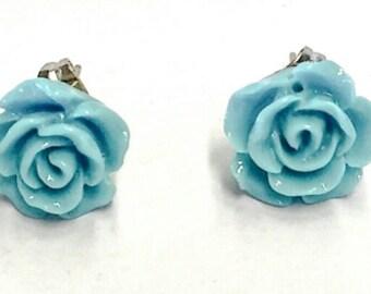 Baby Blue Rose Stud Earrings