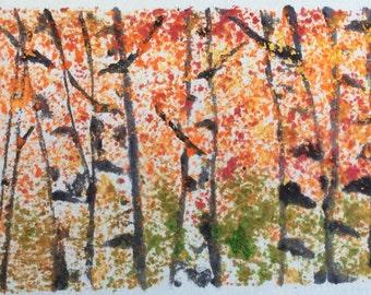 Birch Trees / Original Watercolor / Mono-Printing / Watercolor Artwork / Hand-painted / Birch Tree Painting / Watercolour Trees / Autumn
