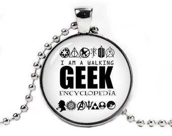 I am a Walking Geek Encyclopedia Pendant Necklace with a ball chain Geeky Jewelry Fangirl Fanboy