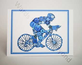 Bike, A6 Greeting Card, Blue, Print of original button and crystal artwork - Blank inside