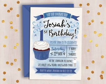 Boy's Birthday Invitation // Watercolour Digital Birthday Invitation for Boy of Any Age // Cupcake Party Invitation // Kids Birthday Invite
