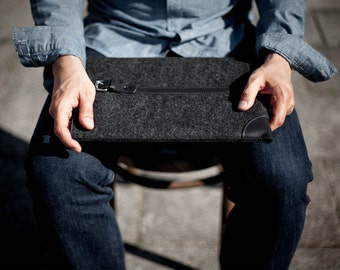 "NEW Touch Bar MacBook Pro 13""/ 15"" Sleeve - Italian Leather and Merino Wool Felt, Grey / Black"