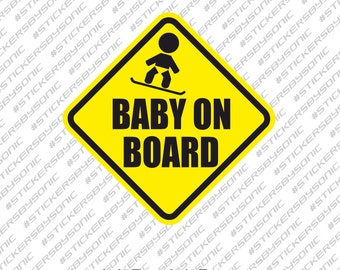 Baby on snowboard