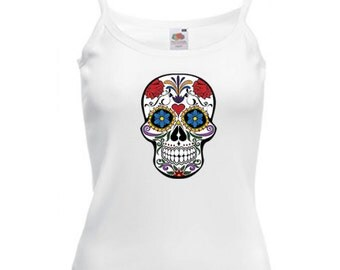 Ladies Strappy Sugar Skull Top - Day Of The Dead