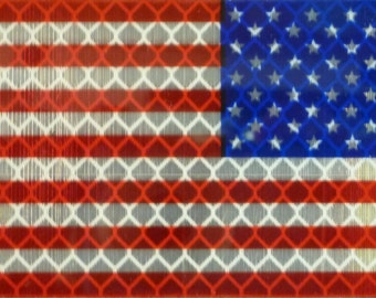 """USA flag reverse, red+blue 3.5"""" x 2"""" Hi-Vis Reflective Patch with VELCRO® Brand Fastener"""