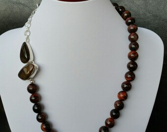 Red Tiger Eye Necklace, 925