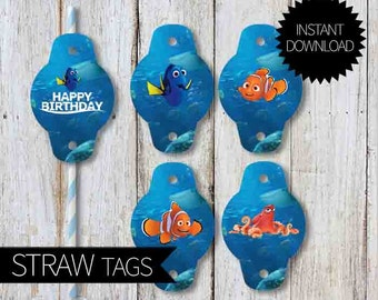Finding Dory Birthday Party PRINTABLE Straw Tags- Instant Download | Finding Nemo| Paper Straws Decoration