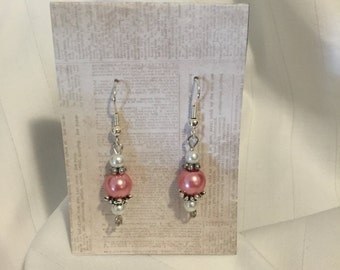 Pearly pink and White Earrings