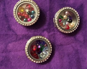 Floating Charm Interchangeable Snaps  with Bling for all Snap Jewelry - 18mm -20mm - Price is Per Snap