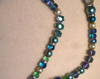 Beaded Crystal and Czech Glass Necklace