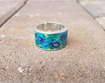 Cloisonne Enamel Paisley Ring