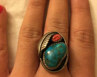 Turquoise & Coral Navajo Ring