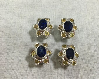 Set of 4 pcs Kurta Buttons made in 925 Silver with Natural Semi Precious gemstones ( Kyanite and Yellow Sapphire)