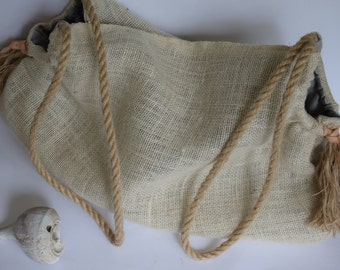 Burlap and Canvas Hobo Slouch Bag