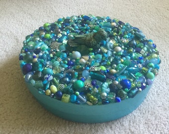 Turquoise, Blue and Green Jeweled Box with Bird Centerpiece
