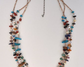 Permanently reduced : Vintage Native American 3 Strand Heishi Shell and Multi-Stone Nuggets Necklace