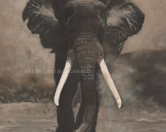 Print  ELEPHANT ART (Charging)  wildlife fine art print