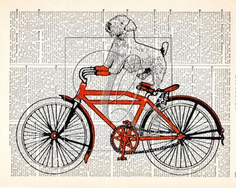 Dog on Bike Print dictionary art print kids room art red nursery decor terrier print vintage bicycle print animal print book page art no. 60