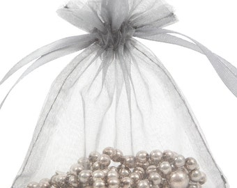100 Sliver Organza Gift Pouch Wedding Favour Bag Jewellery Pouch- 6 Sizes