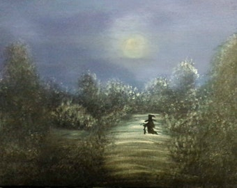 Witch Painting, OOAK Witch Art, Moonlight Painting, Original Artwork, Original Painting, 11 x 14 Painting, Witch Art, Pagan, Wicca Witch
