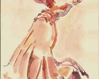 2000 Dancer watercolor painting print, made by seller, signed