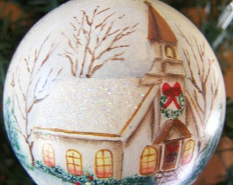 Hand painted folk art round glass Christmas ornament