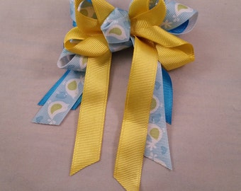 Yellow, Blue and Light Blue with Birds Hair Bow for girls and teens