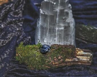 Simple, polished Black Onyx crystal necklace