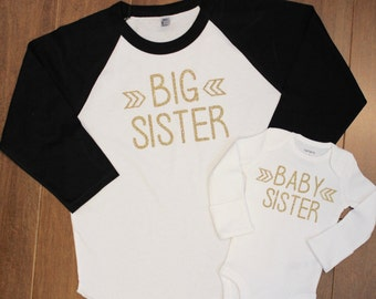 Big Sister, Baby Sister, Big Sister Shirt, Little Sister Shirt, Big Sister, Sibling Shirts, Pregnancy Announcement, New Baby Announcement