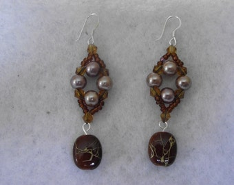 Oyster Pearl Earrings with Flat Bead Dangles