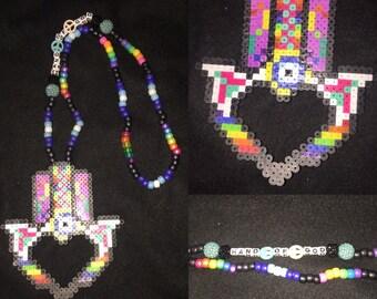 Hamsa Hand Kandi Necklace