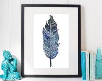 Blue Feather Doodle